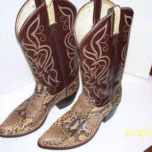 Dan Post Vintage 1980's Cowboy Boots Snakeskin